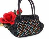 Vintage Italian Handbag Raffia Tote 60s Boho Beaded Bag Pink Blue Orange Girls Purse Black Double Handle