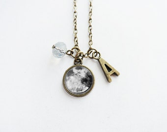 Get 15% OFF - Antique Bronze Initial/Letter/Alphabet Charm/ Crystal Bead / Moon Pendant Necklace - Happy Mother's Day SALE 2016