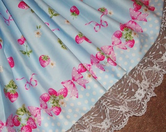 Sweet Strawberries, Cherries & Bows Blue Polka Dot Sweet Lolita Skirt - ANY SIZE