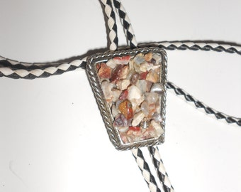 Agate Bolo Tie Natural Pebble Agate Back Mounted Stone Cluster Classic Western Wear -Vintage