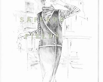 Summer Travel Dress, Fashion Sketch, Vintage Ad, Gino Paoli, Cabot Mills Knits, Summer Leisure Vintage 1966 Black and White Drawing