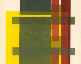"Structure 1989: 6""x9"" archival PRINT of original mono print geometric modern art green yellow orange red blue"