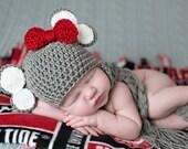 Alabama Elephant Hat, Crimson Tide, Crochet Elephant Hat, Baby Elephant, Crochet Baby Hat, Alabama, Newborn to 3 months, Photo Prop