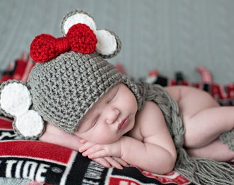 Alabama Elephant Hat, Crimson Tide, Crochet Elephant Hat, Baby Elephant, Crochet Baby Hat, Alabama, Newborn to 3 months, Photo Prop