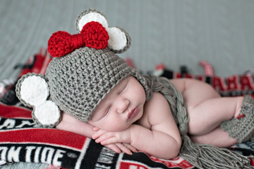 Alabama Elephant and Georgia Bulldog - Crochet Hat and Diaper Cover ...