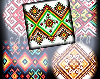 Digital Collage of Ukrainian embroidery - 54 1x1 Inch Circle and Square JPG images - Digital Collage Sheet