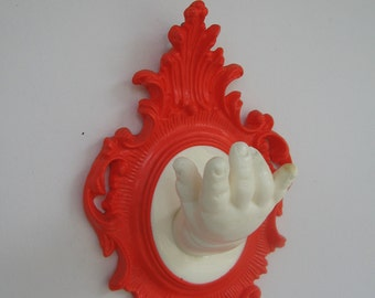 Halloween orange Doll Hand Wall hook / Jewelry display / Decor