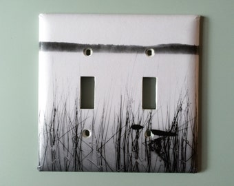 Switch Plate, Double Toggle, Black and White, Morning on the Lake