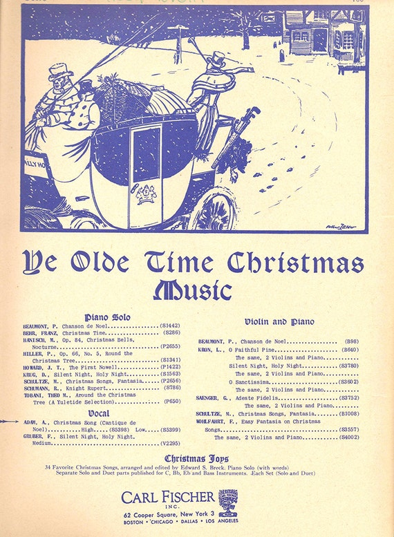 1916 O Holy Night Christmas Song Sheet Music Cantique de Noël