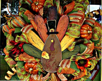 Turkey Welcome Luxe Thanksgiving Wreath