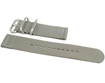 Two Piece Ballistic Nylon NATO Watch Strap - Grey