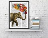 Elephant with Flowers - Love book print  - Elephant in love - Printed over vintage dictionary book page BPAN091b