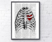 Upcycled Dictionary Page Print - Heart trapped in a Rib Cage- Anatomy art SKA019