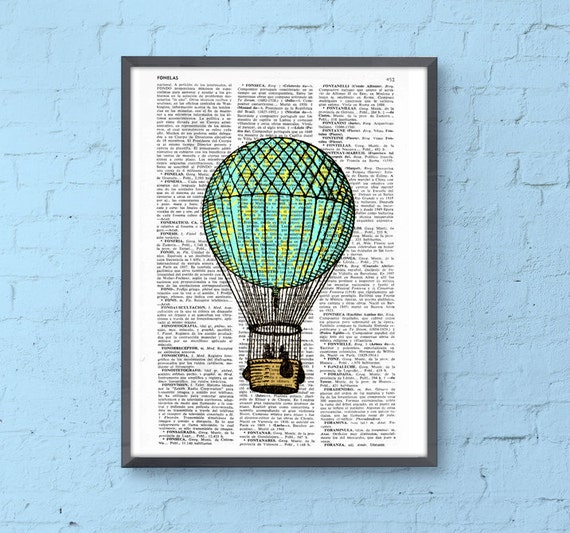 Print Hot air balloon in turquise and yellow, Room decor, Gift, Balloon wall hanging,cute home nursery wall decor TVH127