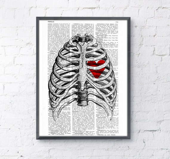 Upcycled Dictionary Page Print - Heart trapped in a Rib Cage- Anatomy art BPSK019