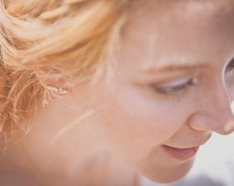 Boucles d'oreille Sybil - bijoux d'oreille vermeil et plaqué or rose 18k cristal et quartz rose - Art nouveau Art deco ear cuffs
