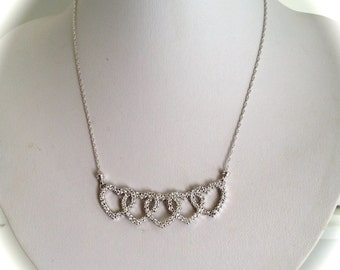 Vintage Sterling Silver Pave Intertwined Pave Heart Necklace Estate Necklace White Stone Heart Necklace Pave Love Necklace