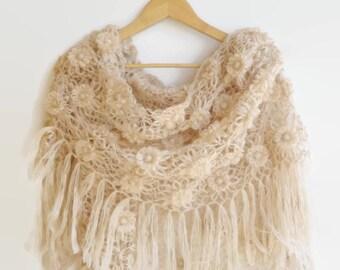 Crochet Shawl / Women Knit Shawl / Shawl Scarf / Bridal Wedding Shawl / Bridal Shrug / Winter Wedding / Winter Accessories / Gifts For Her