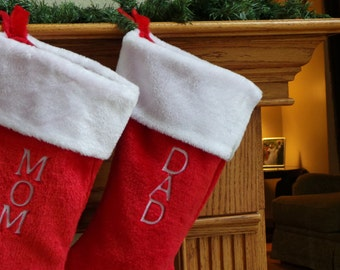 Embroidered Personalized Christmas Stocking, Large Red & White Velvet Stocking