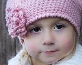 Crochet Beret Pattern: 'Sofia Belle Beret' with Loopy Flower, Toddler, Child/Tween & Women