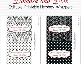 Damask Dot Candy Wrappers, Bridal Shower Favors, Black and White Party Favors, Red Accent, Candy Bar, Chocolate Bar -- Editable, Printable