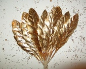 Vintage Wedding Gold Paper Leaves DIY Wreath Craft Metallic Foil Art Millinery Flower Corsage R Lg.