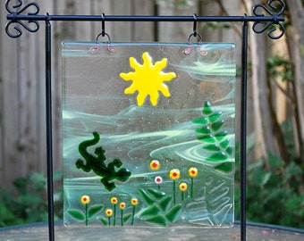 Handmade Fused Glass Panel Sunny Garden Scene with Lizard and Flowers