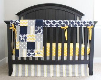 Yellow, Blue, Grey Crib Bedding Set, Baby Nursery Cribset, Geometric Modern Boy Bedding, Fitted Crib Sheet, Patchwork Blanket, Rail Guard