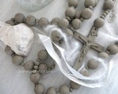 GREY SEAWASHED ROSARY Large 68 inches Hand-painted Jeanne d Arc Living Style French Nordic Country Living Religious Catholic