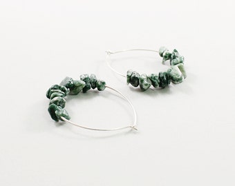 Tree agate earrings, green gemstone hoop earrings, sterling silver jewelry natural stone hoops, handmade by NatureLook