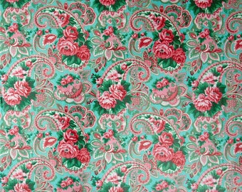 LAMINATED cotton fabric by the yard - Veranda Paisley Shade blue green pink yardage - WIDE - BPA free - Approved for children's products