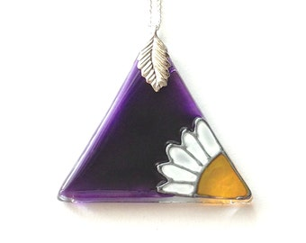 Glass Triangle Pendant in Purple with a Daisy, Silver Plated Chain & Bail, Glass Necklace, Purple Daisy Necklace, Hand Painted Glass Jewelry