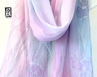 Hand Painted Silk Shawl Scarf Pastel Purple Iris Scarf, Large Silk Scarf, Silk Chiffon. Silk Scarves Takuyo. Approx 20x89 in. Made to order.