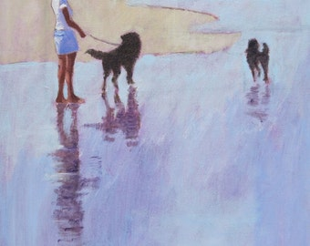 """Oil Painting. """"Labradoodles at the Seaside"""" Impressionist Art. Family Beach Scene. 17"""" x 14.5""""."""