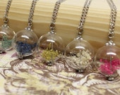 Blown Glass Orb Necklace with Baby's Breath - Pink