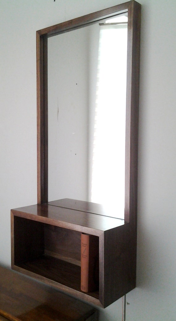 Custom walnut entry hall mirror with wall shelf mid century for Hallway mirror and shelf