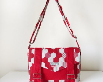 Cross Body Bag / Messenger Bag / Satchel Bag for Women with Pockets and Adjustable Strap in Red and White