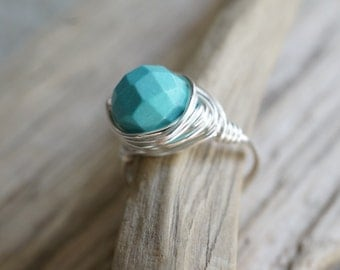 Sterling Silver Plated Wire Wrapped Faceted Teal Bead Ring - Turquoise Howlite Ring