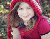 Valentine Hat, Childrens Hat, Crochet Pixie Hat, Striped Hat, Baby Hat, Crochet Hat