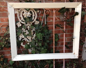 """Hand Painted Vintage Frame Shabby Chic French White Large Wide Frame Holds 24"""" X 30"""""""
