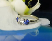 Herkimer Diamond Ring With Ceylon Blue Sapphire Gold
