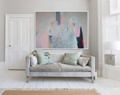 """LARGE GICLÉE print, abstract print of painting, pink, blue, white, modern, expressionist """"Elevated Candy"""""""