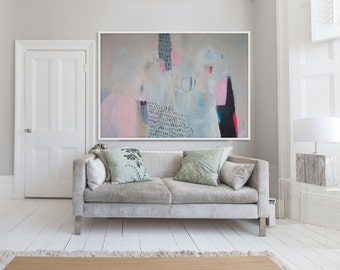 "LARGE GICLÉE print, abstract print of painting, pink, blue, white, modern, expressionist ""Elevated Candy"""