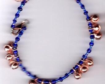 Copper and Cobalt Blue Dancing Bells Anklet