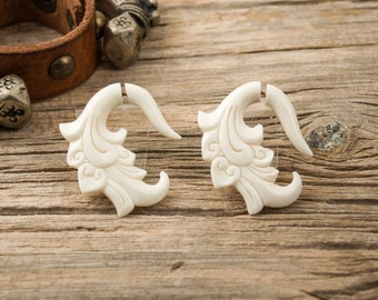Bone Fake Gauges Earrings White Bone Tribal Flower Earrings - Gauges Plugs Bone Horn -FG011 B G2