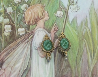 1950's Vintage Faux carved Jade clip on earrings, Mad Med Jewelry, Costume jewelry