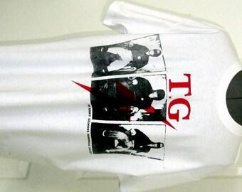 """Throbbing Gristle - Punk Tshirt - GARY GILMORE - Electric Chair - TG -Tshirt - Mature - Sm 36""""- Large 40"""" Unisex"""