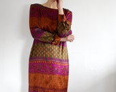 Vintage Earth Tone India Print Womens Dress