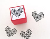Cross Stitch Heart Rubber Stamp