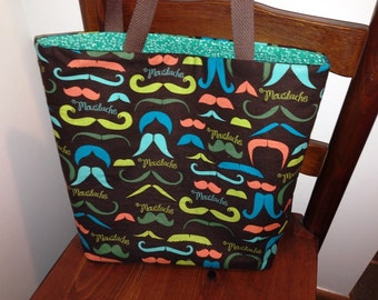 Tote, Market Bag, Mustaches, Library Bag, Travel Tote, Brown, Work Tote, Moustaches